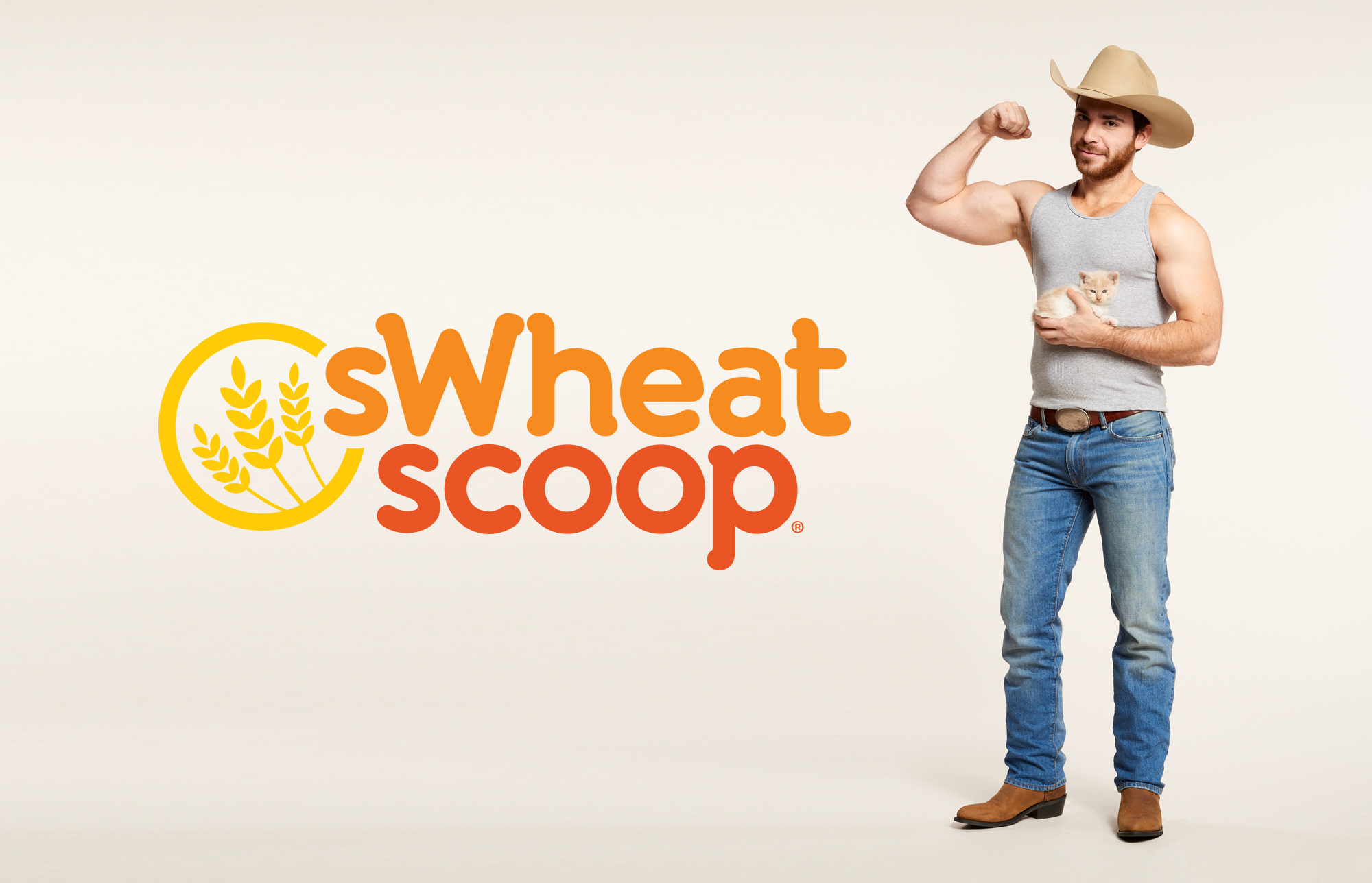 sWheat Scoop logo next to wheat farmer